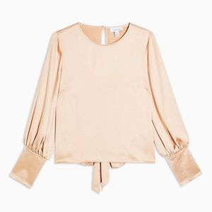 🤩 NWT Topshop Satin Tie Back Champagne Blouse